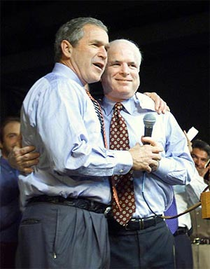 John McCain with President Bush